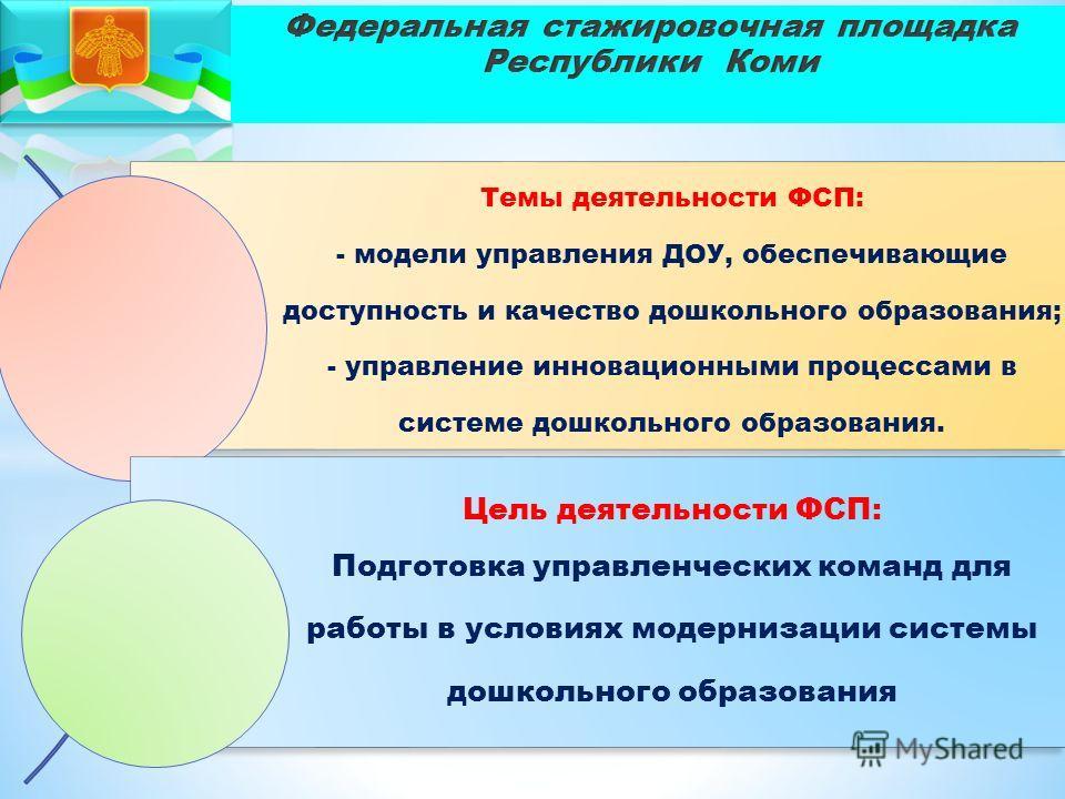 Темы деятельности ФСП: - модели управления ДОУ, обеспечивающие доступность и качество дошкольного образования; - управление инновационными процессами в системе дошкольного образования. Цель деятельности ФСП: Подготовка управленческих команд для работ