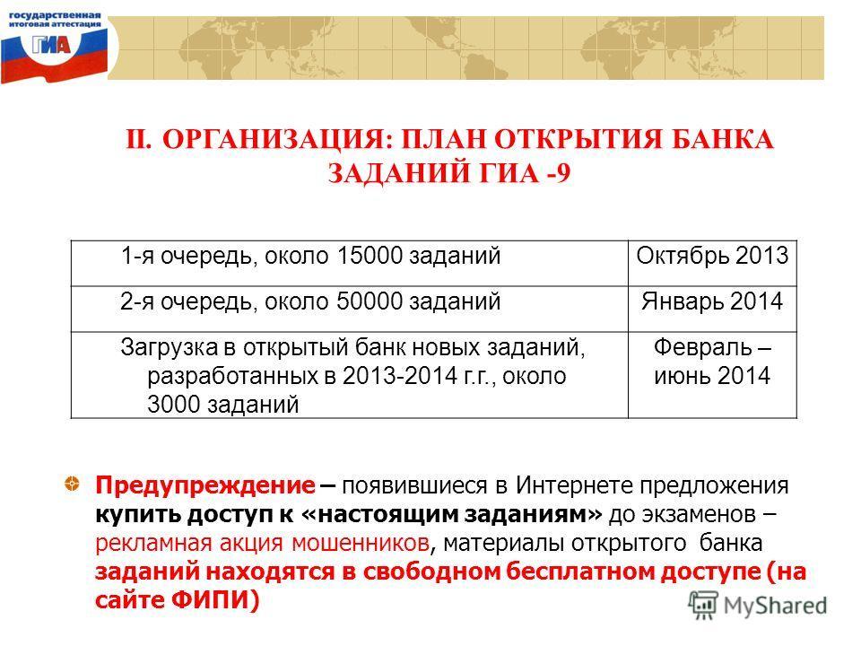 II. ОРГАНИЗАЦИЯ: ПЛАН ОТКРЫТИЯ БАНКА ЗАДАНИЙ ГИА -9 1-я очередь, около 15000 заданийОктябрь 2013 2-я очередь, около 50000 заданийЯнварь 2014 Загрузка в открытый банк новых заданий, разработанных в 2013-2014 г.г., около 3000 заданий Февраль – июнь 201