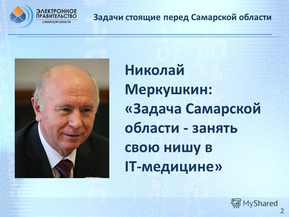 2 Задачи стоящие перед Самарской области Николай Меркушкин: «Задача Самарской области - занять свою нишу в IT-медицине»