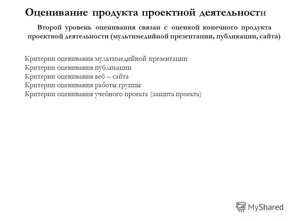 Оценивание продукта проектной деятельности Второй уровень оценивания связан с оценкой конечного продукта проектной деятельности (мультимедийной презентации, публикации, сайта) Критерии оценивания мультимедийной презентации Критерии оценивания публика