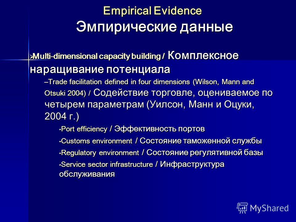 Empirical Evidence Эмпирические данные Multi-dimensional capacity building / Комплексное наращивание потенциала Multi-dimensional capacity building / Комплексное наращивание потенциала –Trade facilitation defined in four dimensions (Wilson, Mann and