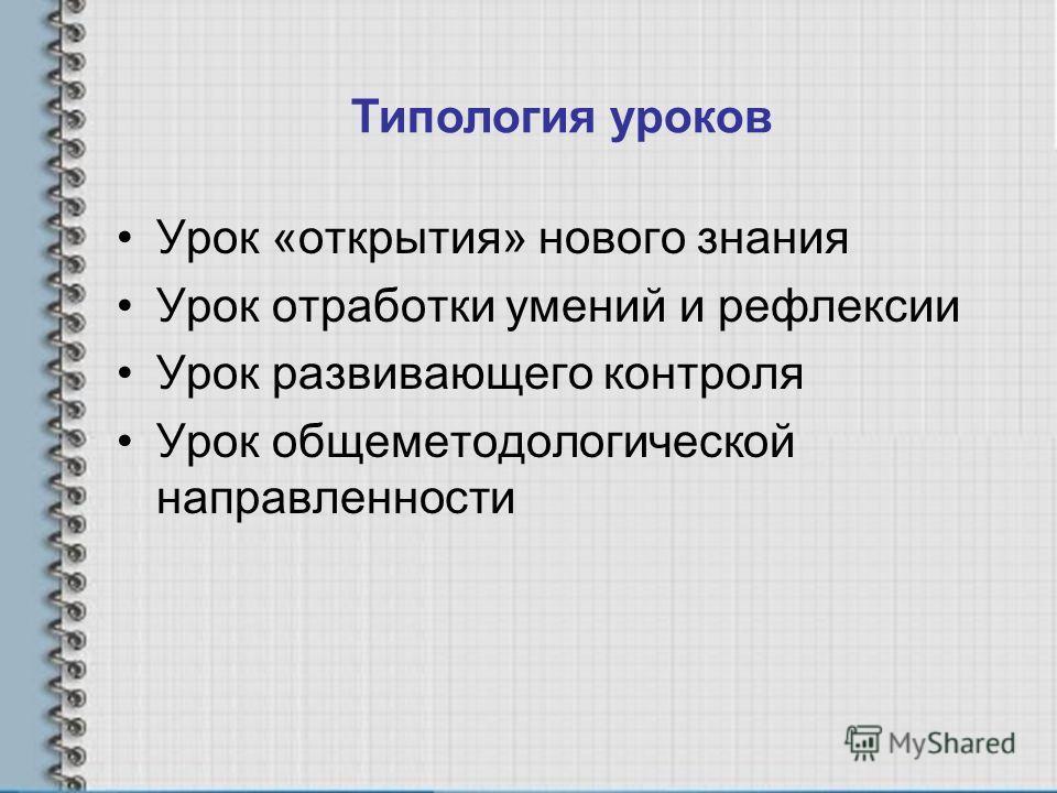 Типология уроков Урок «открытия» нового знания Урок отработки умений и рефлексии Урок развивающего контроля Урок общеметодологической направленности