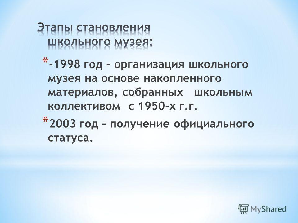 * -1998 год – организация школьного музея на основе накопленного материалов, собранных школьным коллективом с 1950-х г.г. * 2003 год – получение официального статуса.