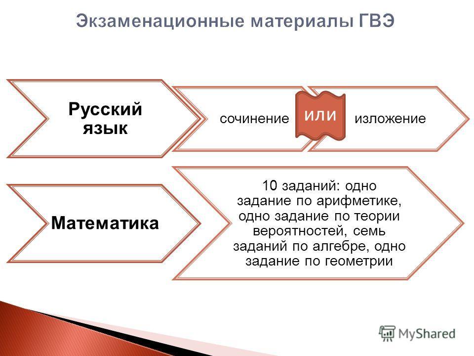Русский язык сочинениеизложение Математика 10 заданий: одно задание по арифметике, одно задание по теории вероятностей, семь заданий по алгебре, одно задание по геометрии или