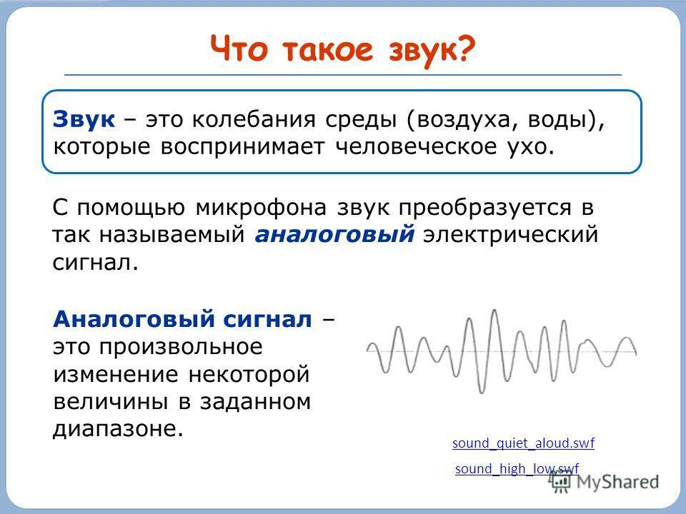 Что такое звук? С помощью микрофона звук преобразуется в так называемый аналоговый электрический сигнал. sound_high_low.swf sound_quiet_aloud.swf Аналоговый сигнал – это произвольное изменение некоторой величины в заданном диапазоне. Звук – это колеб