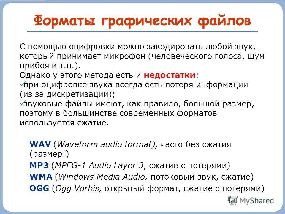 Форматы графических файлов WAV (Waveform audio format), часто без сжатия (размер!) MP3 (MPEG-1 Audio Layer 3, сжатие с потерями) WMA (Windows Media Audio, потоковый звук, сжатие) OGG (Ogg Vorbis, открытый формат, сжатие с потерями) С помощью оцифровк