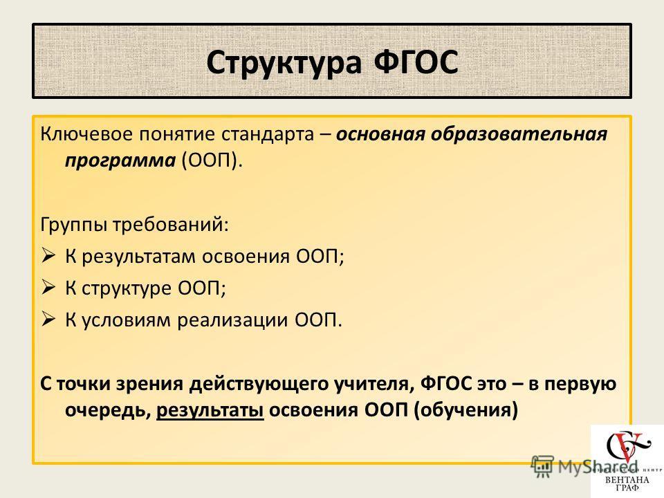Структура ФГОС Ключевое понятие стандарта – основная образовательная программа (ООП). Группы требований: К результатам освоения ООП; К структуре ООП; К условиям реализации ООП. С точки зрения действующего учителя, ФГОС это – в первую очередь, результ