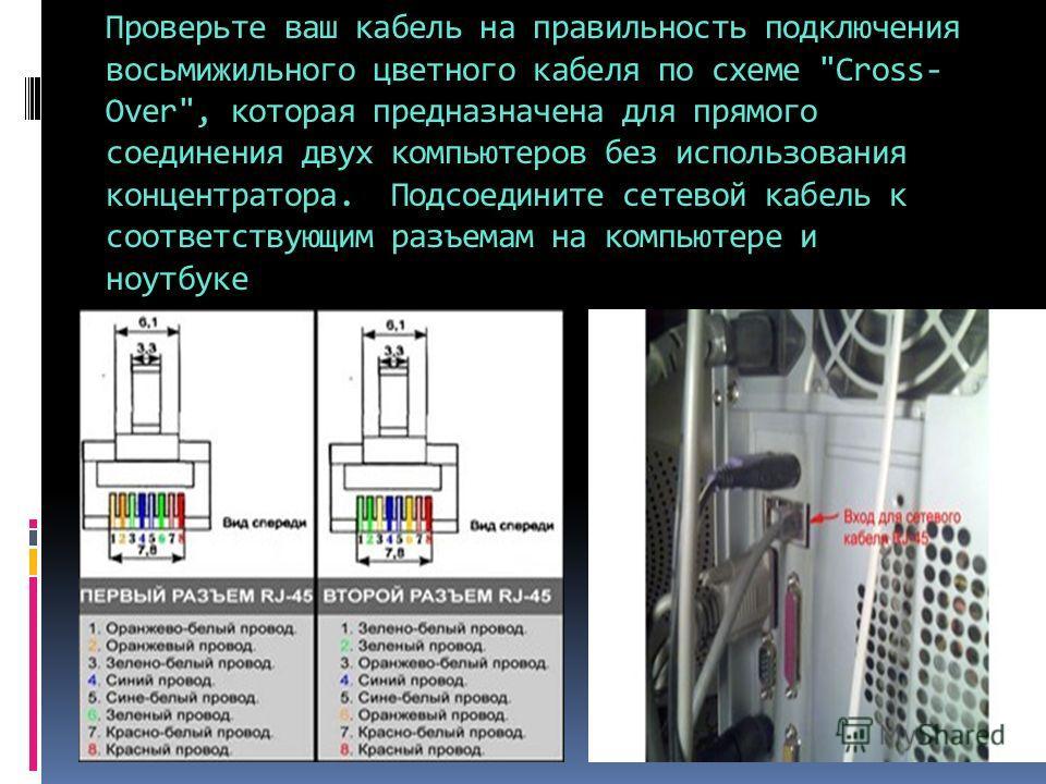 Проверьте ваш кабель на правильность подключения восьмижильного цветного кабеля по схеме
