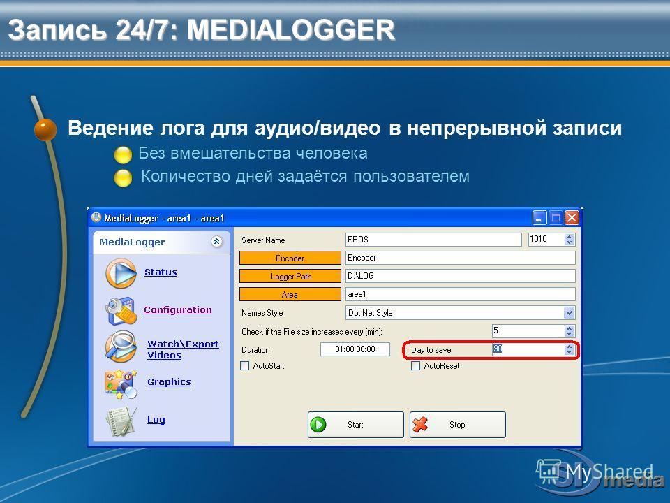 Запись 24/7: MEDIALOGGER Ведение лога для аудио/видео в непрерывной записи Без вмешательства человека Количество дней задаётся пользователем