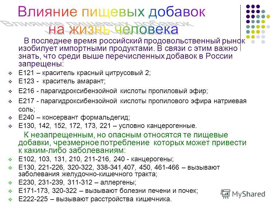 В последнее время российский продовольственный рынок изобилует импортными продуктами. В связи с этим важно знать, что среди выше перечисленных добавок в России запрещены: Е121 – краситель красный цитрусовый 2; Е123 - краситель амарант; Е216 - парагид