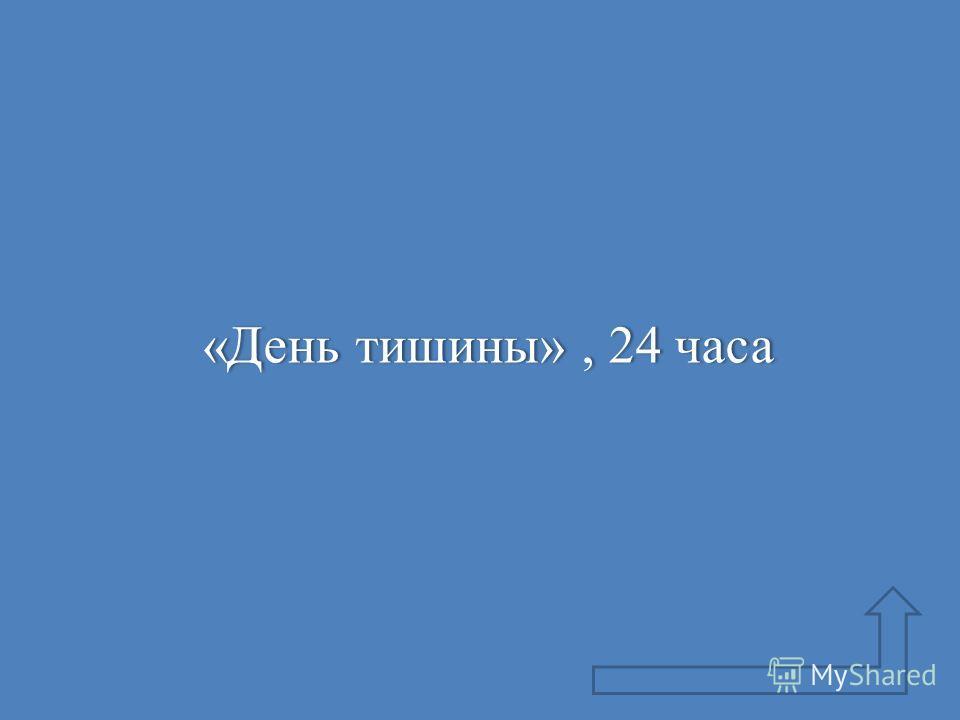 «День тишины», 24 часа«День тишины», 24 часа