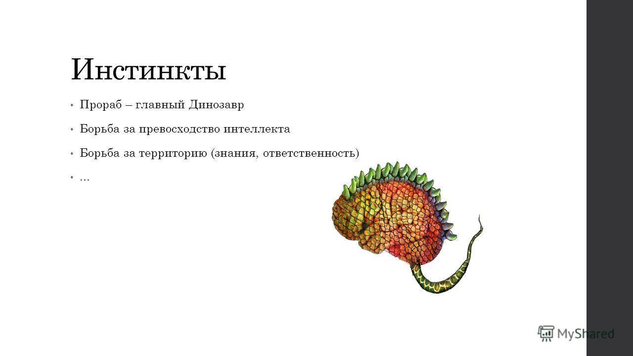 Инстинкты Прораб – главный Динозавр Борьба за превосходство интеллекта Борьба за территорию (знания, ответственность)...