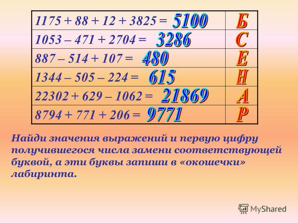 1175 + 88 + 12 + 3825 = 1053 – 471 + 2704 = 887 – 514 + 107 = 1344 – 505 – 224 = 22302 + 629 – 1062 = 8794 + 771 + 206 = Найди значения выражений и первую цифру получившегося числа замени соответствующей буквой, а эти буквы запиши в «окошечки» лабири