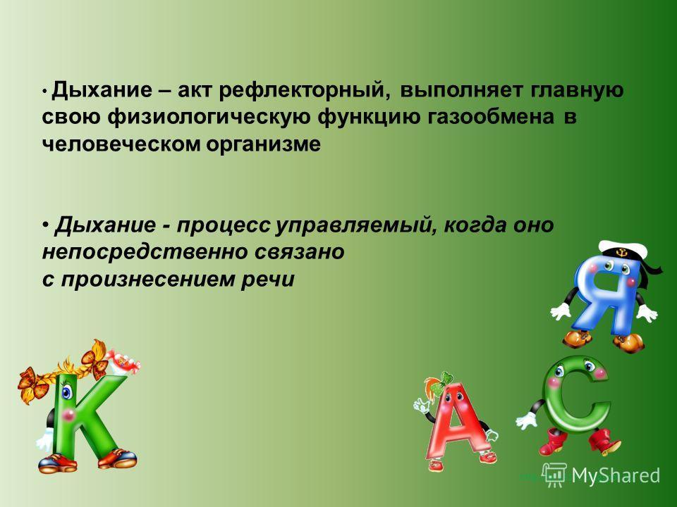 http://lara3172.blogspot.ru/ Дыхание – акт рефлекторный, выполняет главную свою физиологическую функцию газообмена в человеческом организме Дыхание - процесс управляемый, когда оно непосредственно связано с произнесением речи