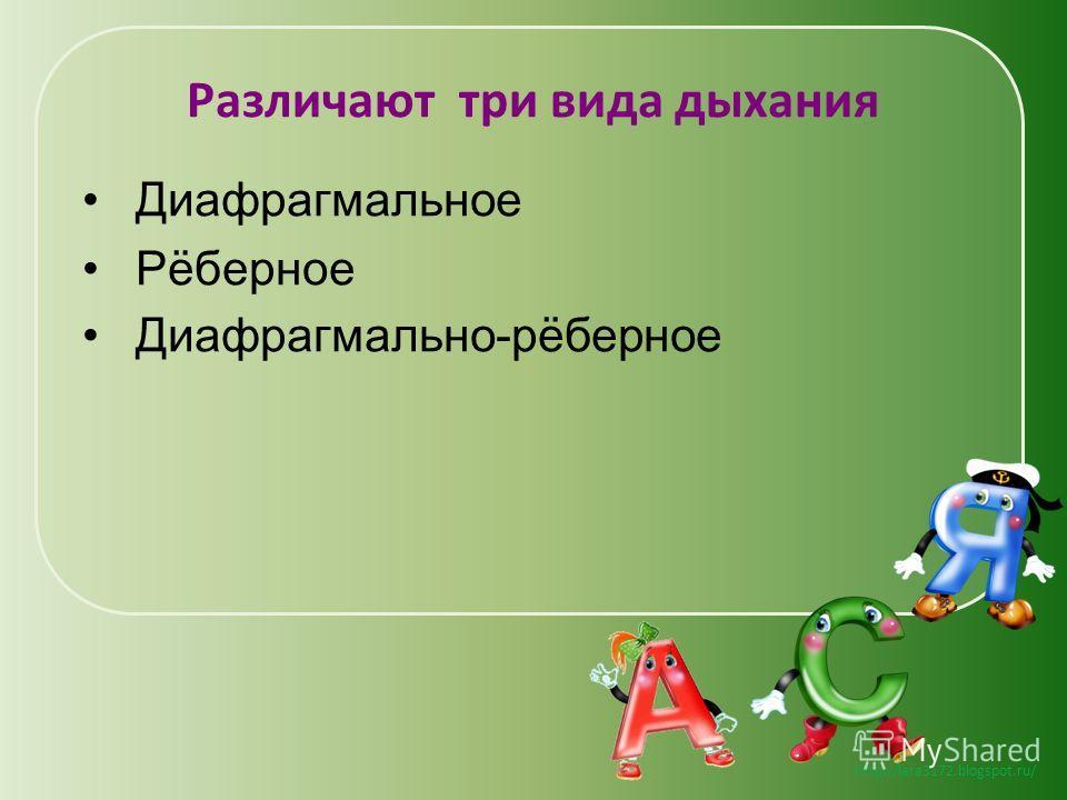 http://lara3172.blogspot.ru/ Различают три вида дыхания Диафрагмальное Рёберное Диафрагмально-рёберное