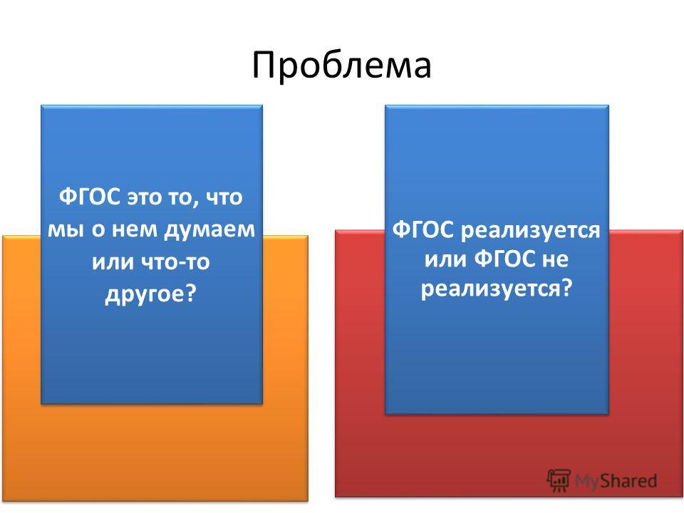 Проблема ФГОС это то, что мы о нем думаем или что-то другое? ФГОС реализуется или ФГОС не реализуется?