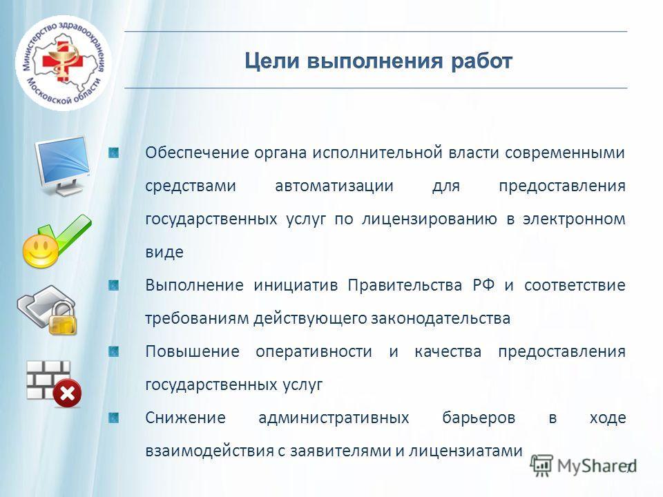 Обеспечение органа исполнительной власти современными средствами автоматизации для предоставления государственных услуг по лицензированию в электронном виде Выполнение инициатив Правительства РФ и соответствие требованиям действующего законодательств