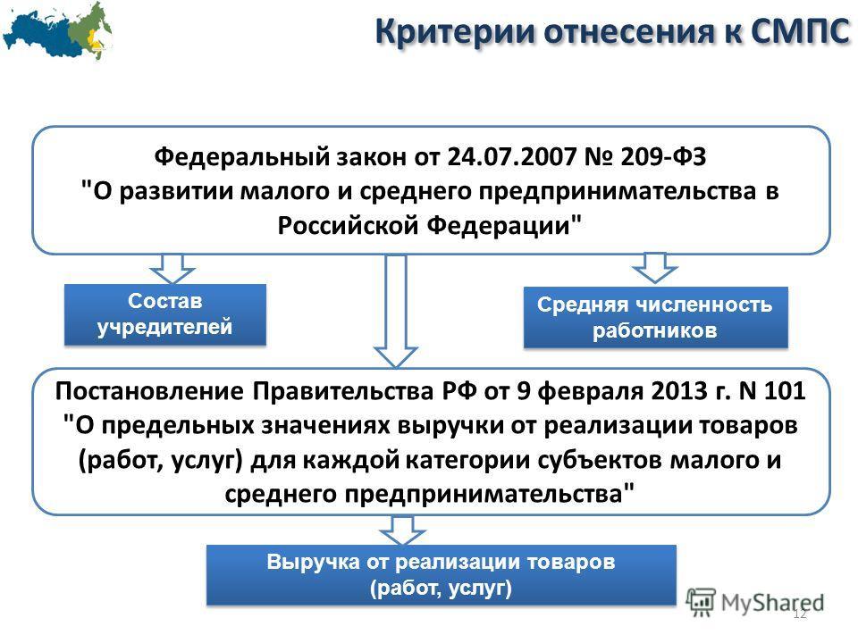 Критерии отнесения к СМПС 12 Постановление Правительства РФ от 9 февраля 2013 г. N 101