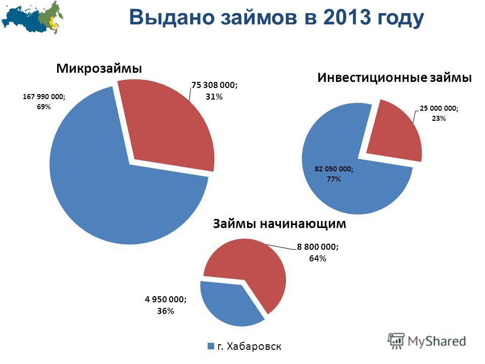 Выдано займов в 2013 году