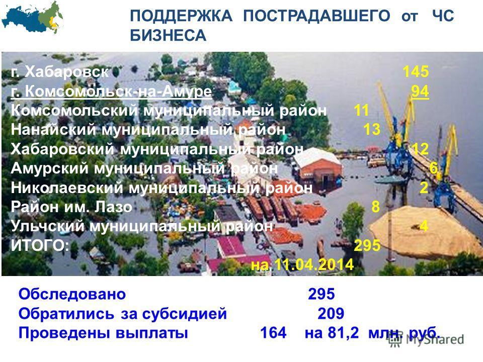 ПОДДЕРЖКА ПОСТРАДАВШЕГО от ЧС БИЗНЕСА Обследовано295 Обратились за субсидией 209 Проведены выплаты164 на 81,2 млн. руб. г. Хабаровск 145 г. Комсомольск-на-Амуре 94 Комсомольский муниципальный район 11 Нанайский муниципальный район 13 Хабаровский муни