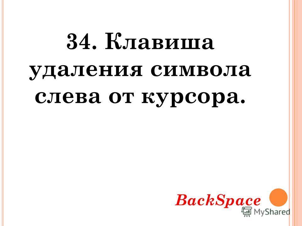 34. Клавиша удаления символа слева от курсора. BackSpace