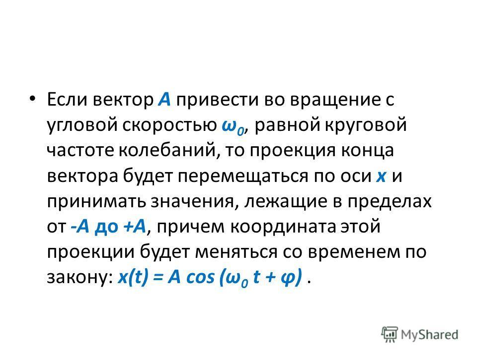 Если вектор А привести во вращение с угловой скоростью ω 0, равной круговой частоте колебаний, то проекция конца вектора будет перемещаться по оси х и принимать значения, лежащие в пределах от -A до +A, причем координата этой проекции будет меняться