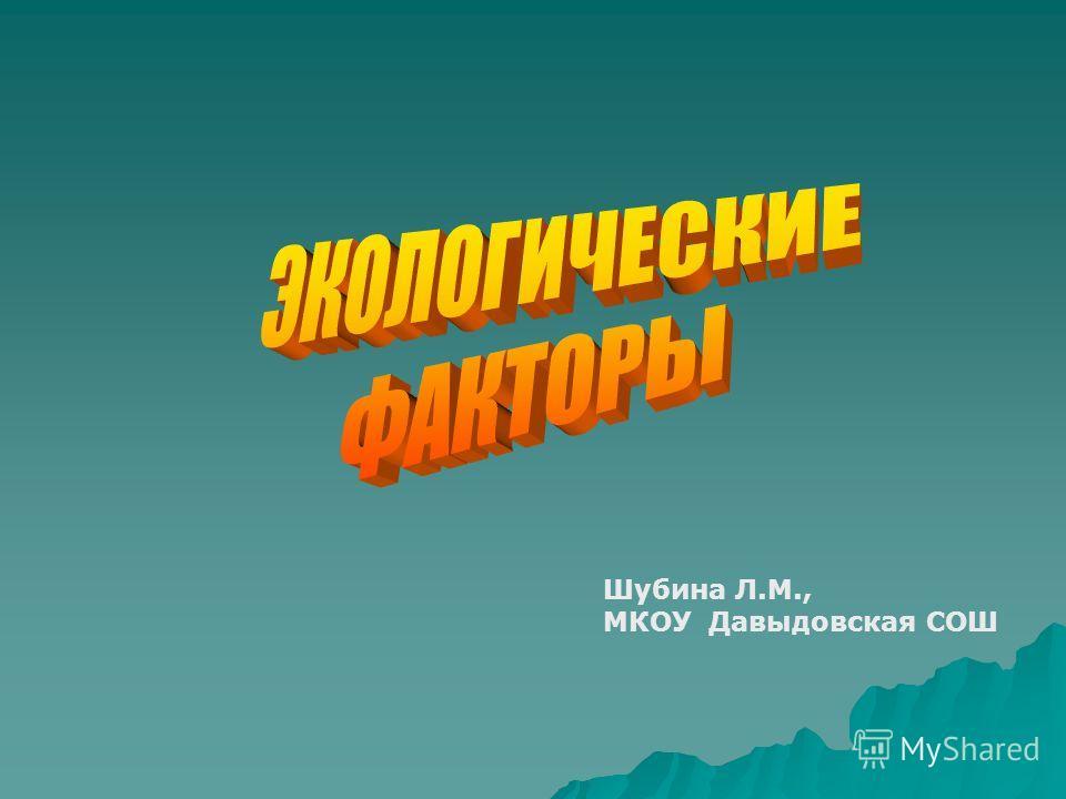 Шубина Л.М., МКОУ Давыдовская СОШ