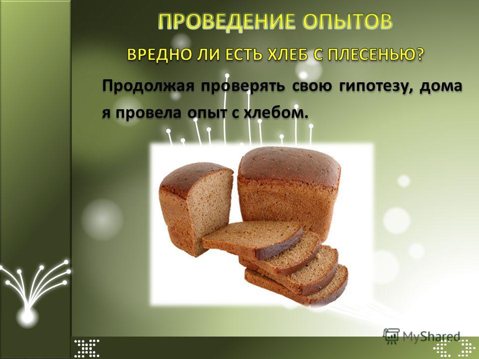 Продолжая проверять свою гипотезу, дома я провела опыт с хлебом.