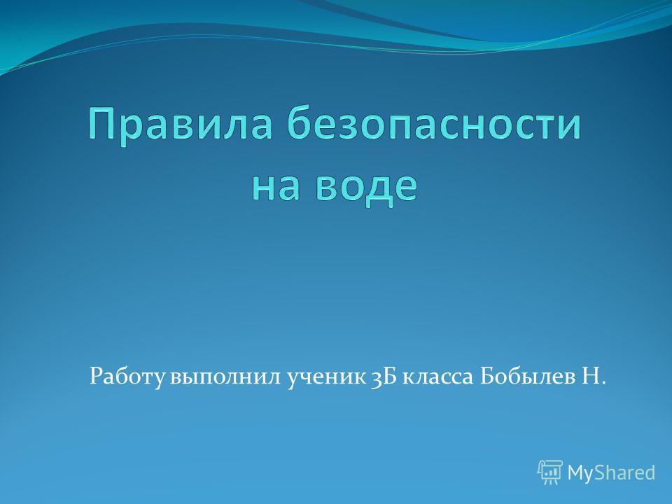 Работу выполнил ученик 3Б класса Бобылев Н.