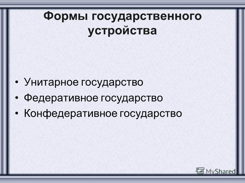 Формы государственного устройства Унитарное государство Федеративное государство Конфедеративное государство