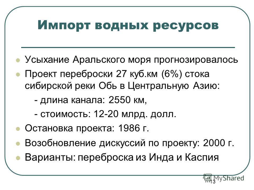 13 Импорт водных ресурсов Усыхание Аральского моря прогнозировалось Проект переброски 27 куб.км (6%) стока сибирской реки Обь в Центральную Азию: - длина канала: 2550 км, - стоимость: 12-20 млрд. долл. Остановка проекта: 1986 г. Возобновление дискусс
