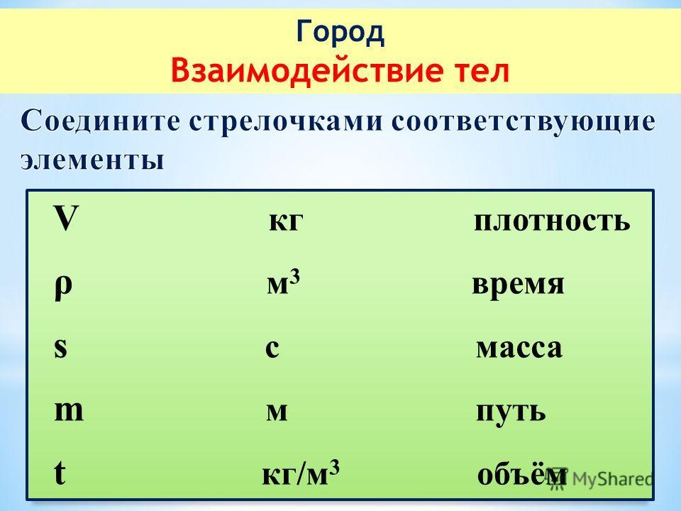 Город Взаимодействие тел V кг плотность ρ м 3 время s с масса m м путь t кг/м 3 объём