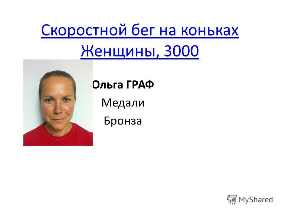 Скоростной бег на коньках Женщины, 3000 Ольга ГРАФ Медали Бронза