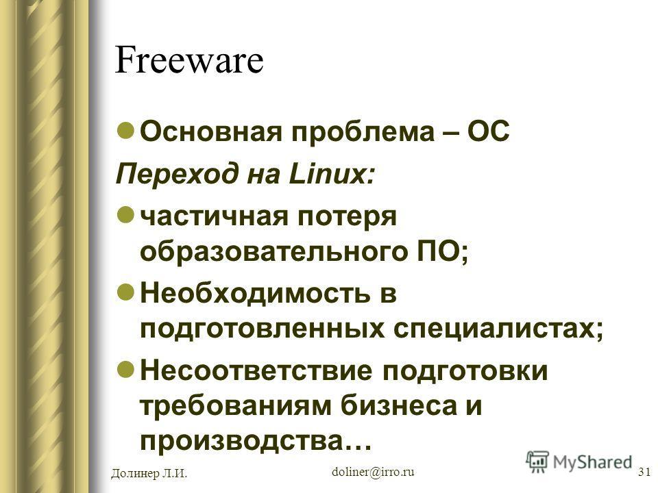 Долинер Л.И. doliner@irro.ru31 Freeware Основная проблема – ОС Переход на Linux: частичная потеря образовательного ПО; Необходимость в подготовленных специалистах; Несоответствие подготовки требованиям бизнеса и производства…