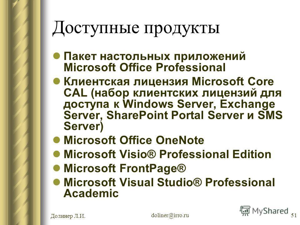 Долинер Л.И. doliner@irro.ru51 Доступные продукты Пакет настольных приложений Microsoft Office Professional Клиентская лицензия Microsoft Core CAL (набор клиентских лицензий для доступа к Windows Server, Exchange Server, SharePoint Portal Server и SM