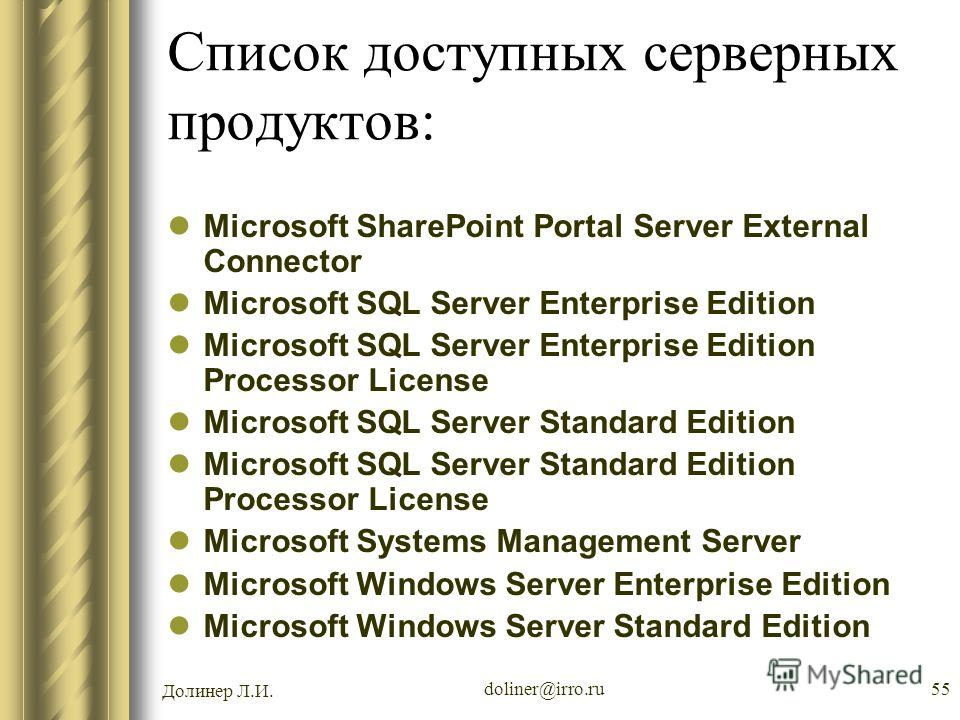 Долинер Л.И. doliner@irro.ru55 Список доступных серверных продуктов: Microsoft SharePoint Portal Server External Connector Microsoft SQL Server Enterprise Edition Microsoft SQL Server Enterprise Edition Processor License Microsoft SQL Server Standard