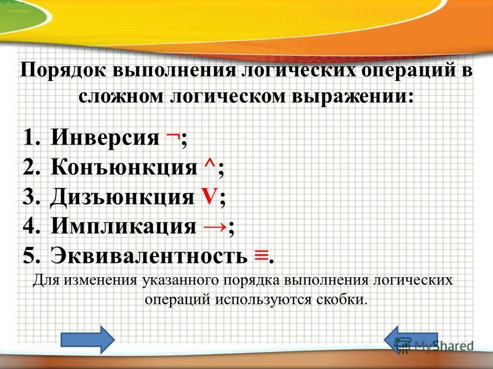 Порядок выполнения логических операций в сложном логическом выражении: 1.Инверсия ¬; 2.Конъюнкция ^; 3.Дизъюнкция V; 4.Импликация ; 5.Эквивалентность. Для изменения указанного порядка выполнения логических операций используются скобки.
