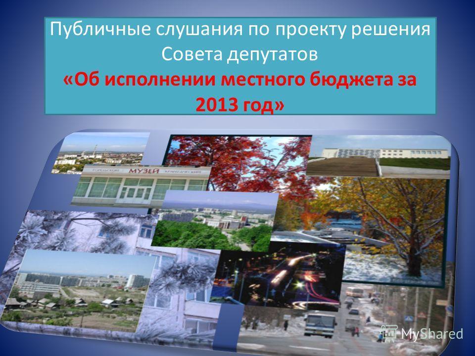 Публичные слушания по проекту решения Совета депутатов «Об исполнении местного бюджета за 2013 год»