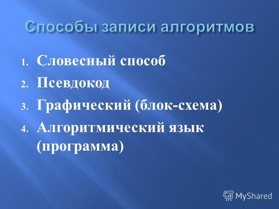 1. Словесный способ 2. Псевдокод 3. Графический ( блок - схема ) 4. Алгоритмический язык ( программа )