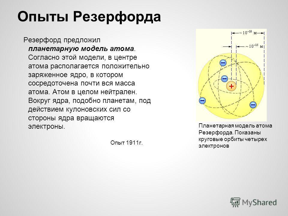 Опыты Резерфорда Резерфорд предложил планетарную модель атома. Согласно этой модели, в центре атома располагается положительно заряженное ядро, в котором сосредоточена почти вся масса атома. Атом в целом нейтрален. Вокруг ядра, подобно планетам, под