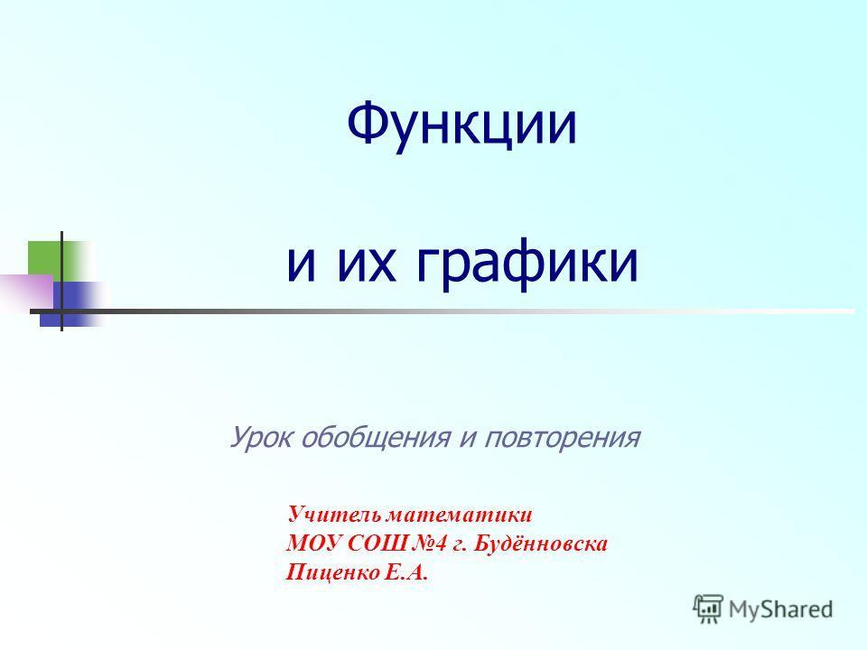 Функции и их графики Урок обобщения и повторения Учитель математики МОУ СОШ 4 г. Будённовска Пиценко Е.А.
