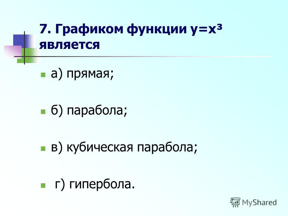 7. Графиком функции y=x³ является а) прямая; б) парабола; в) кубическая парабола; г) гипербола.
