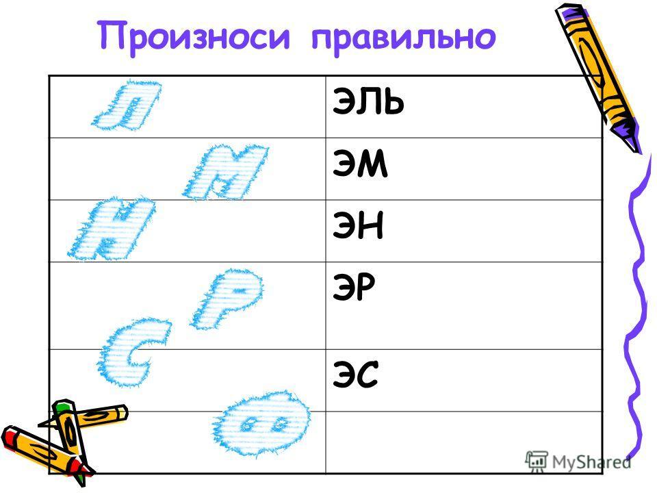 Произноси правильно ЭЛЬ ЭМ ЭН ЭР ЭС