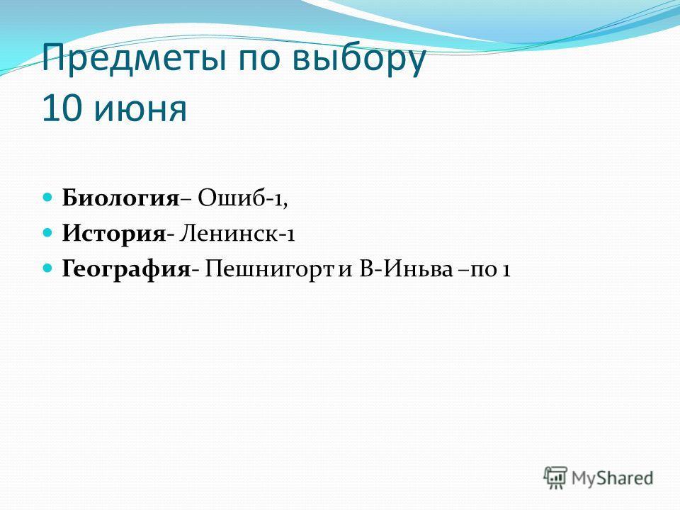 Предметы по выбору 10 июня Биология– Ошиб-1, История- Ленинск-1 География- Пешнигорт и В-Иньва –по 1