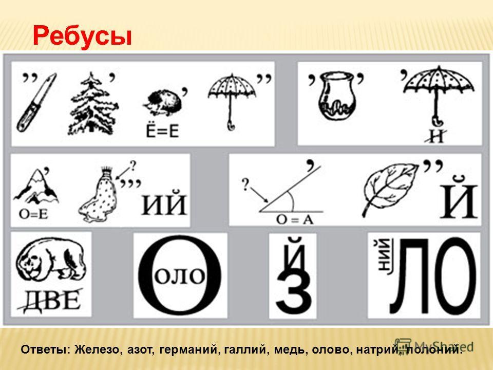 Ребусы Ответы: Железо, азот, германий, галлий, медь, олово, натрий, полоний.