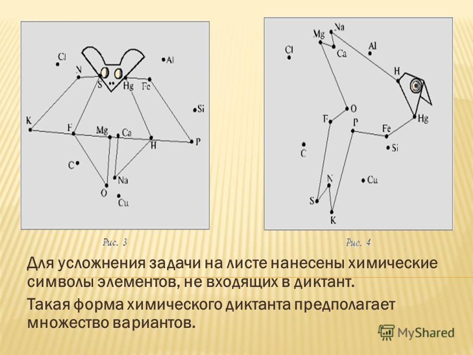 Для усложнения задачи на листе нанесены химические символы элементов, не входящих в диктант. Такая форма химического диктанта предполагает множество вариантов.
