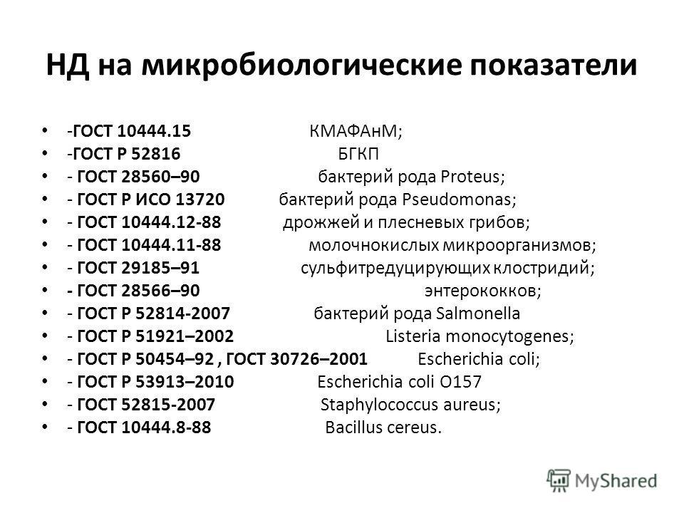 НД на микробиологические показатели -ГОСТ 10444.15 КМАФАнМ; -ГОСТ Р 52816 БГКП - ГОСТ 28560–90 бактерий рода Proteus; - ГОСТ Р ИСО 13720 бактерий рода Pseudomonas; - ГОСТ 10444.12-88 дрожжей и плесневых грибов; - ГОСТ 10444.11-88 молочнокислых микроо