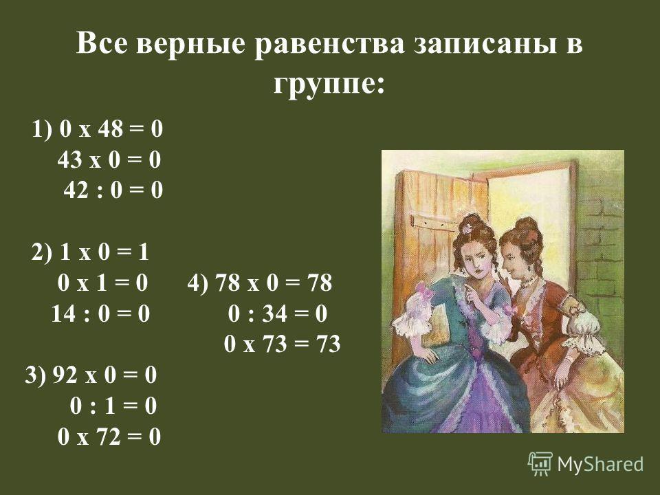 Все верные равенства записаны в группе: 1) 0 х 48 = 0 43 х 0 = 0 42 : 0 = 0 2) 1 х 0 = 1 0 х 1 = 0 4) 78 х 0 = 78 14 : 0 = 0 0 : 34 = 0 0 х 73 = 73 3) 92 х 0 = 0 0 : 1 = 0 0 х 72 = 0