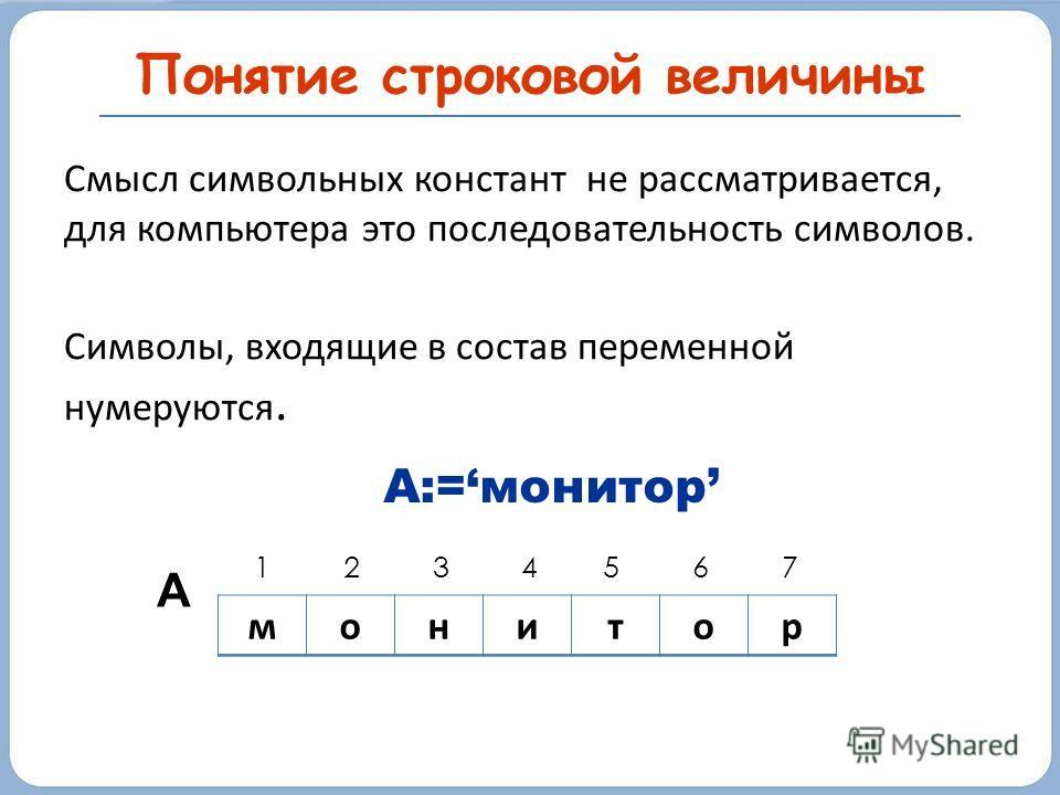 Смысл символьных констант не рассматривается, для компьютера это последовательность символов. Символы, входящие в состав переменной нумеруются. Понятие строковой величины монитор 1 2 3 4 5 6 7 А А:=монитор