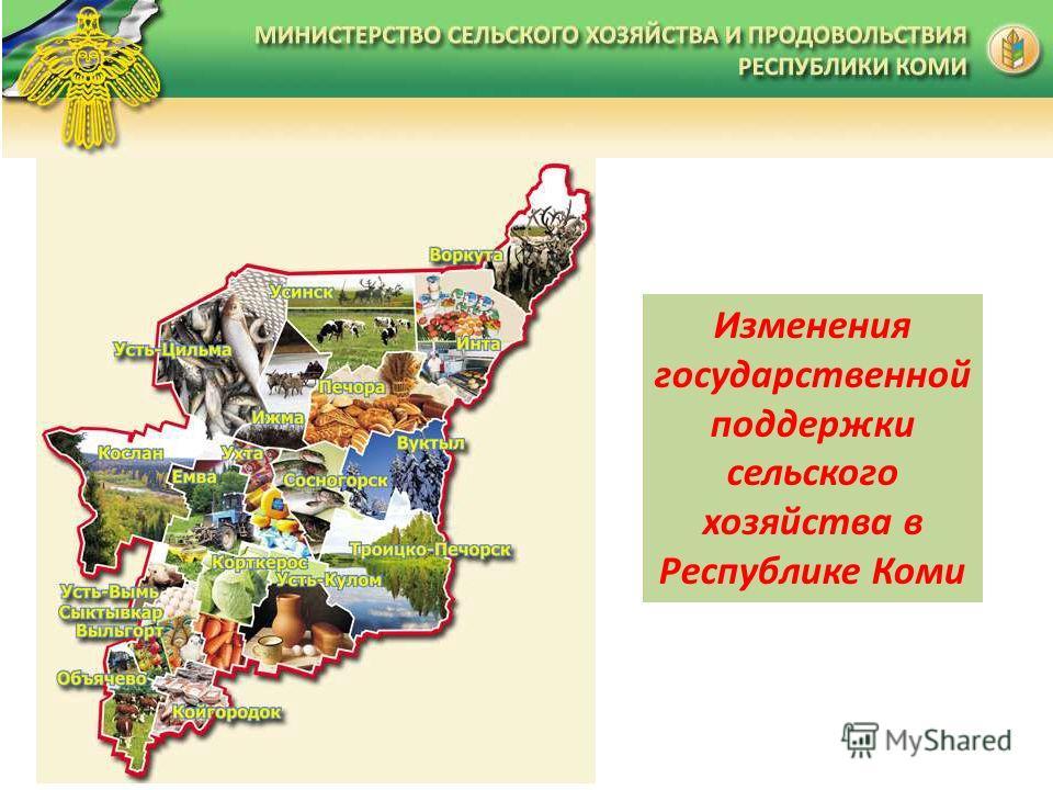Изменения государственной поддержки сельского хозяйства в Республике Коми